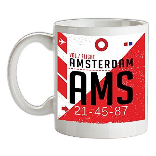 Amsterdam Flughafen - Bedruckte Kaffee- und Teetasse