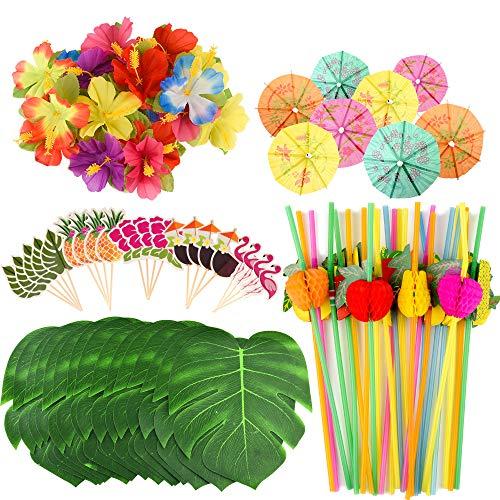 FEPITO 184 PCS Decoraciones de Fiesta Tropical hawaiana Incluye hojas de Palmera Tropical, Flores Hibiscus, Selecciones de paraguas de bebida, Pajitas de frutas coloridas y Cupcake Toppers