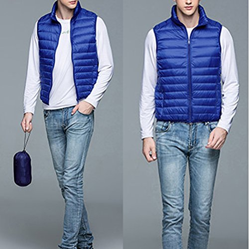 Laixing Oberbekleidung Men's Short Thin Vest Sleeveless Down Jackets Leightweigth Zipper Outerwear Bright Blue