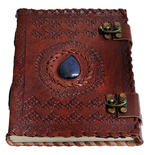 Hecha a mano, tamaño grande 8'Piel repujada Celta Dos Cierres Azul Piedra Blank Personal diario cuaderno rellenable regalo