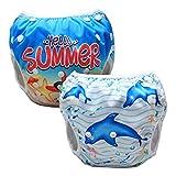 Luxja Wiederverwendbare Swim Windel (2 Stück), einstellbare Windel für Baby (0-3 Jahre), waschbar, Dolphin + Seestern