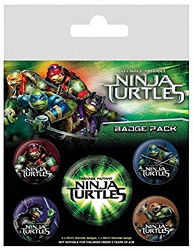 Teenage Mutant Ninja Turtles - Leonardo, Donatello, Michelangelo Und Raphael, 1 X 38mm & 4 X 25mm Badges Button Pack (15 x 10cm)