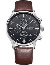Megir SLMG2011G - Reloj de cuarzo para hombres, con pulsera, pantalla analógica, correa de cuero, color marrón