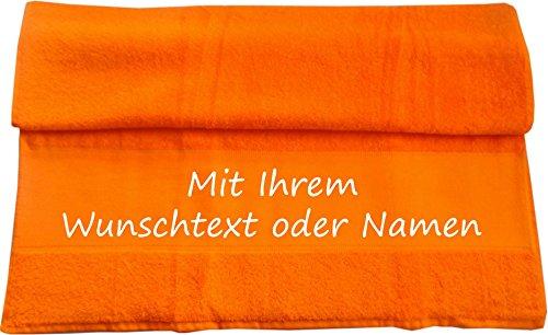 Handtuch mit Ihrem Wunschtext oder Namen 100 x 50 cm / Fb. Orange