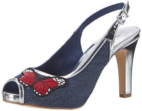 Tamaris Damen 29301 Offene Sandalen mit Keilabsatz, Mehrfarbig (Jeans Mesh Com 808), 39 EU