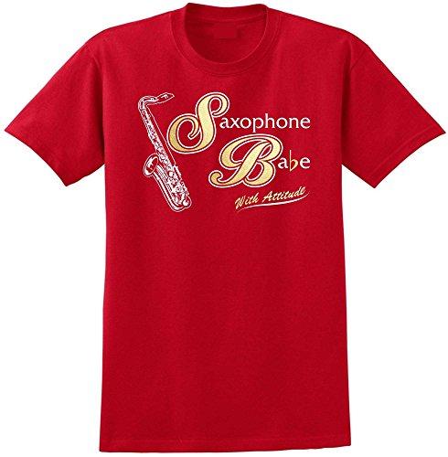 Saxophone Sax Tenor Saxophone Babe Attitude - Red Rot T Shirt Größe 104cm 42in Large MusicaliTee