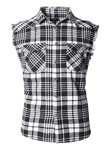 SOOPO Herren Ärmellose Kariert Flanell Hemden Freizeithemd aus Baumwolle Sleeveless T-Shirt(schwarz&weiß,XL)