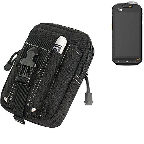 K-S-Trade Gürtel Tasche für Cat S60 Gürteltasche Schutzhülle Handy Hülle Smartphone Outdoor Handyhülle schwarz Zusatzfächer
