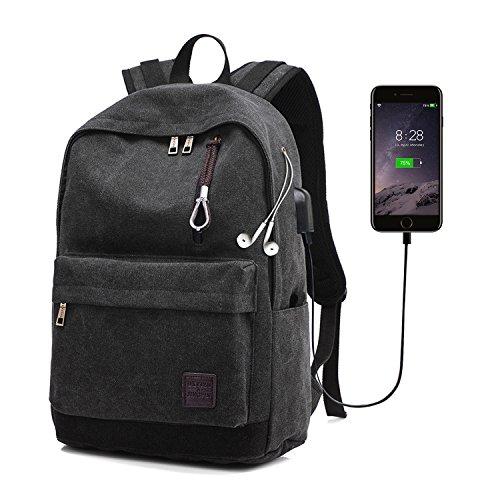 Imagen de  de lona para hombre, begreat bolsa de ordenador, de ocio y práctica, con usb y agujero de auriculares, para viajes, escuela, aire libre – negro