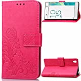 Sony Xperia X Performance Case, Sony Xperia X Performance Case Wallet,Sony Xperia X Performance Case Leather,Cozy Hut Lucky Clover Pure Case Pattern Sony Xperia X Performance Flip Case for Girl,Elegant Clover Design Folio Magnetic Flip Stand Feature with Card/Cash Slots and Wrist Strap Premium PU Leather Wallet Case Cover Skin Shell for Sony Xperia X Performance 5.0 Inch - Rose Red Clover