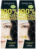 Sante BIO Haarfärbemittel schwarz 2 x 100 g Doppelpackung pflanzlich schonend Haare Tönung Haarfarbe glänzende strahlend sexy mild