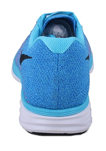Nike Flyknit Lunar3, Chaussures de Running Compétition Femme Bleu - Azul (Gamma Blue / Black-Pht Bl-White)