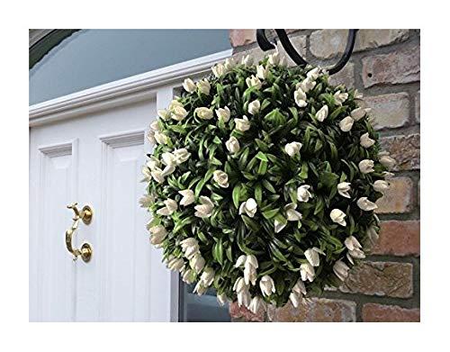 Best Artificial (TM) 40 cm Blanc ivoire Tulipe Fleur Boule Lush longue Feuille topiaire Herbe