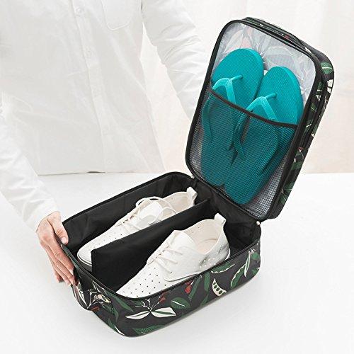 Flora bedruckt Travel Schuhe Tasche von FREELOVE, wasserdicht mit Reißverschluss, 2Schichten Halter Organisieren 3Paris Flora - Pink Flora - Black