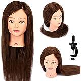 Neverland Beauty Cabeza Maniquí Peluqueria 55cm 90% Pelo Natural Humano Practicas Formación Muñeca de la Cosmetología (con soporte)