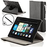 Forefront Cases Leather Rotating Cover/Stand Case with Magnetic Auto Sleep Wake Function and Stylus Pen for 7 inch Amazon Kindle Fire HDX 2013 - Black