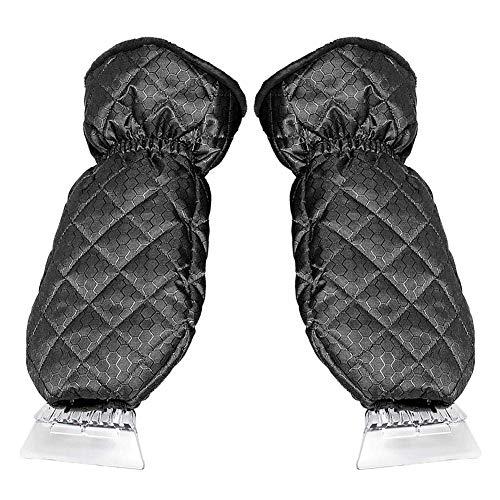 Wärmende Fäustlinge (Zomsame Schneeschaufel Handschuhe Eiskratzer Handschuhe für Auto Windschutzscheibe Schaber, wasserdicht wärmend, Dickes Fleece, elastisches Armband, Fenster Eiskratzer Fäustlinge (1 Paar))