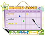 Magnetic Reward Chart | Dry Erase Learning Toy Chore Chart Or Task Planner | Encourage Good Behaviour and Responsibility | Big Buttons For Tiny Fingers With Hanging Loop And Printable Coloring Sheets