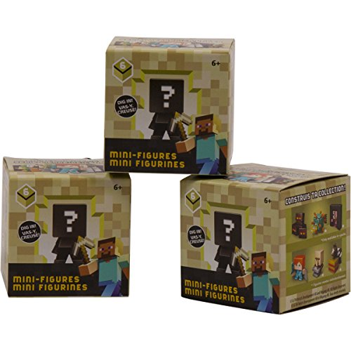 Minecraft Mini Vinyl Collectible Figure Kids and Adults Toys End Stone Series 6 Assorted - Set of THREE Random Mystery Blind Box Packs Gift