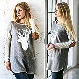 Amlaiworld Damen Langarm Reh gedruckt lässige Bluse Shirt (S, Grey) -
