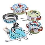 Wobbly Jelly - Dinette «Animaux de la forêt» pour Enfants - Lot de 11 pièces casseroles et poêles pour Enfants - Accessoires de Cuisines pour Enfants