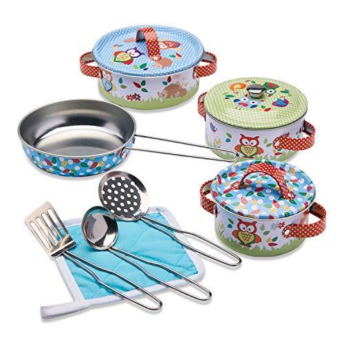 Wobbly Jelly Set da Cucina Animali del Bosco per Bambini Set da 11 Pezzi di pentole e padelle Giocattolo per Bambini Accessori da Cucina Giocattolo