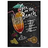 JUNIWORDS Poster mit/ohne Holzrahmen - Wähle ein Motiv - Cocktail Sex on the Beach - Wähle eine Größe - 21 x 30 cm (S) ohne Rahmen