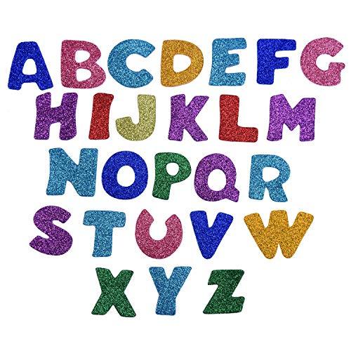 Glitter Schaumstoff Aufkleber,100 Pack Buchstaben Selbstklebende Aufkleber Schaum Glitter für Kinder Handwerk Basteln Scrapbooking Dekorieren Zufällige Farben EVA 4 Sets (Glitter Buchstaben Aufkleber)