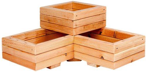 Jardinière spirale en forme de L en bois de mélèze 60cm x 60cm x 30cm