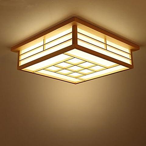 GQLB Led Lumière Plafond Japonais Lampe Tatami 45 * 45 * 12Cm Lampe De Chambre À Coucher En Bois Lampe Vent Pastorale Remote Remote Control Prix Lumière, Lumière Chaude