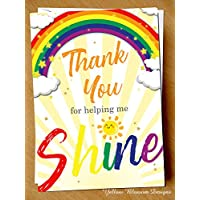 Teacher Thank You Greeting Card Childminder Teaching Assistant Nursery School Primary Secondary For Him Her Thank You For Helping Me Shine Funny Comical Hilarious Alternative Cheeky Banter Quirky Joke Unique Hilarious Alternative Gift Present Cute Card Female Male Mr Miss Mrs Ms Sir