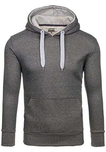 BOLF – Felpa con cappuccio – Pullover – Sweat-shirt – J.STYLE 2075-2 – Uomo Anthracite-Grigio
