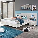 Jugendbett inkl. Nachtkommode 100*200 cm eiche sanremo weiß Jugendliege Kinderbett Bettliege Bett Schlafzimmer Jugendzimmer Kinderzimmer