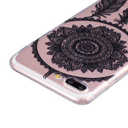 CaseHome iPhone 7 Plus 5.5'' Durchsichtig Silikon TPU Hülle Elegantes Stilvoll Hübsches Muster Druckte Entwurf (Mit freiem HD Schirm-Schutz) Gummi Silikongel Retro Klassiker Stoßstange Weicher Stoßdäm Campanula
