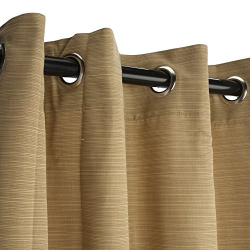 Sunbrella Outdoor Curtain with Grommets-Nickle Grommets-Dupione Bamboo by Sunbrella