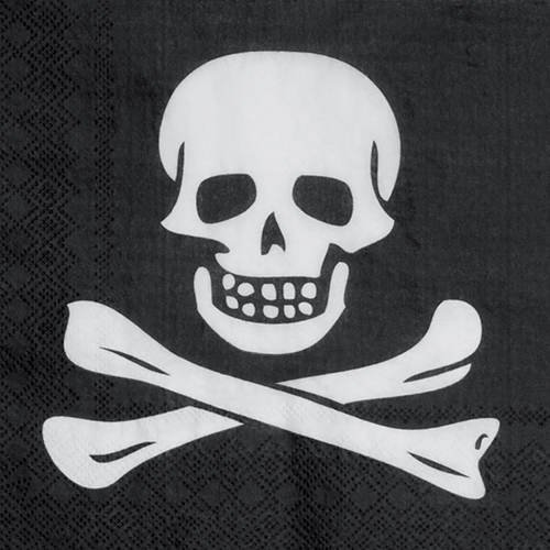 etten Pirat mit Totenkopf, schwarz 33 x 33 cm ()