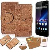 K-S-Trade Schutz Hülle für Phicomm Energy 3+ Handyhülle Kork Handy Tasche Korkhülle Schutzhülle Handytasche Wallet Case Walletcase Flip Cover Smartphone
