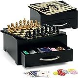 Juego Game Set - Juegos de mesa I Juegos de tablero incluye Ajedrez, Dama, Backgammon, 2 juegos cartas de poker y 200 fichas - Negro