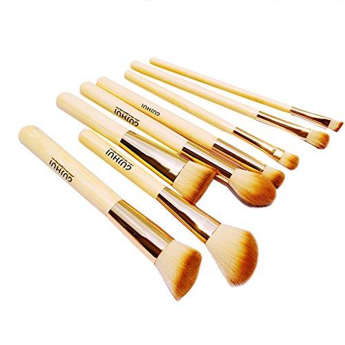Set 8pcs Pinceaux de Maquillage Poignée en Bambou