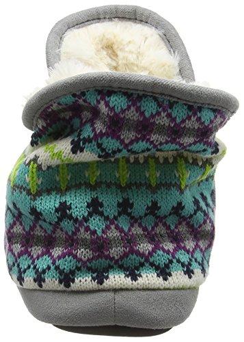 Dearfoams Damen Fairisle Bootie with Microsuede Trim and Memory Foam Hausschuhe Multicolor (Cool Combo 10401)