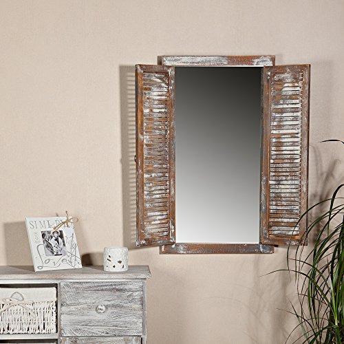 Melko Garderobenspiegel mit Fensterläden Wandspiegel 70cm Shabby Chic Spiegelfenster mit Türen