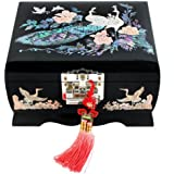 Mother of Pearl Peacock Design Music Wooden Black Bird Girls Jewellery Mirror Case Trinket Keepsake Treasure Gift Musical Asian Lacquer Box Case Chest Organizer