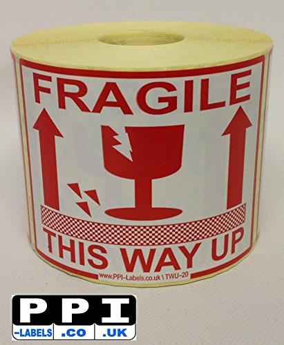 Etiquetas advertencia cristal frágil rollo 500 unidades