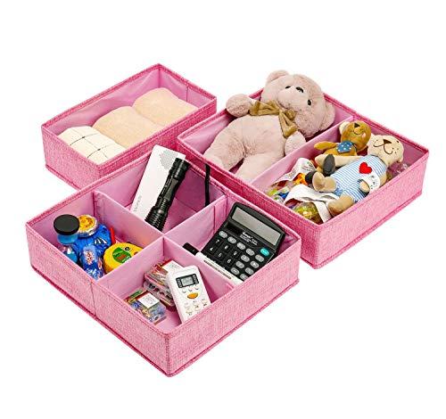 Aufbewahrungsboxen für Kinderzimmer, 3er Set Faltbare Schubladen Organizer Unterwäsche Socken Box Ordnungssystem Stoffbox für Kind, Unterwäsche, Kopfschmuck Rosa ()