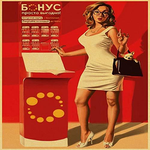 zlhcich Klassische Retro-Mädchen Papier Poster Wand Wohnzimmer nach Hause Kaffee-Bar 37 21 * 30