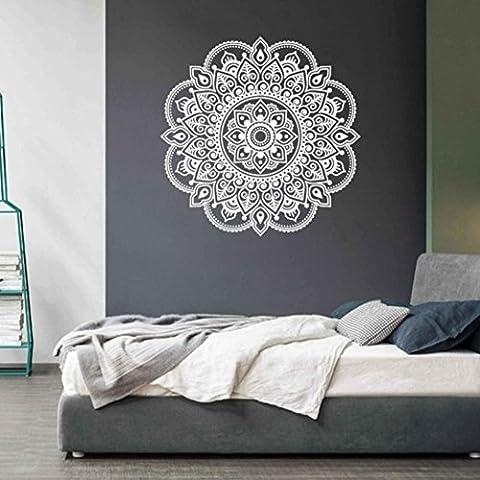 Ouneed® Wandaufkleber Wandtattoo Wandsticker , Mandala Blume Indische Schlafzimmer Wohnzimmer Wandaufkleber Aufkleber Kunst Mural Home (Weiß)