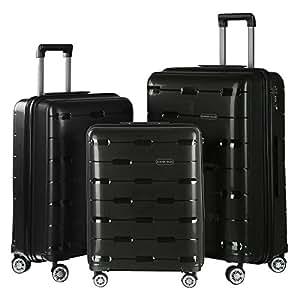Nasher Miles Santorini Polypropylene Hard-Sided Check-in Luggage Set Of 3 Black (55, 65 & 73.5 cm) Trolley Bag