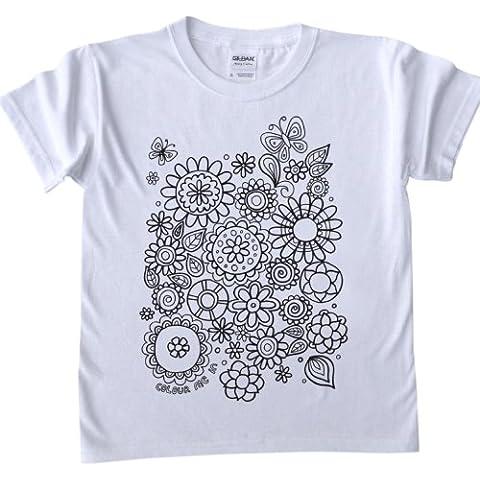 t-shirt per bambini da colorare - fiori di design. dimensioni, età 7-8(marcatori tessuto sono venduti separatamente)