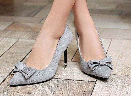 Aisun Femme Sexy Chaussures de Mariées Talon Aiguille Escarpins Gris