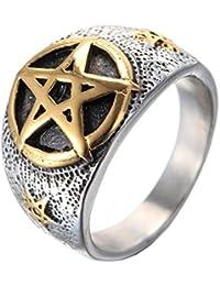 UM joyería Hombres Acero inoxidable Vendimia pentagrama Estrella anillos Oro Plata Negro